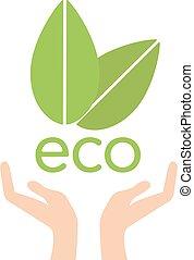 ecologia, natura, eco, foglie, porzione, concetto, vector., mano