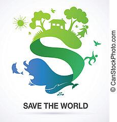 ecologia, natura, -, s, fondo, mondo, risparmiare, icona