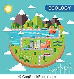 ecologia, scenario, città