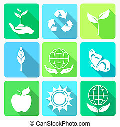 ecologia, set, icone