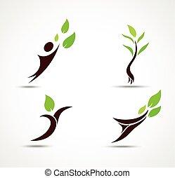 ecologia, set, umano, icona