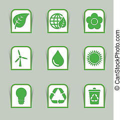 ecologico, appiccicare, icona