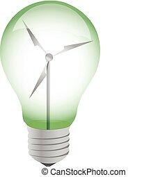 ecologico, illustrazione, bulbo, luce