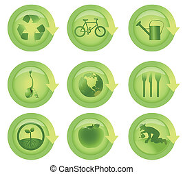 ecologico, set, lucido, icona freccia