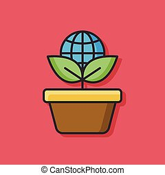 ecologico, vettore, pianta, icona