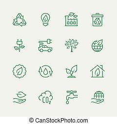 ecologico, vettore, set, icona