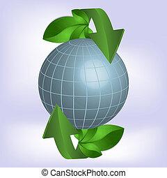 ecology., pianeta, verde