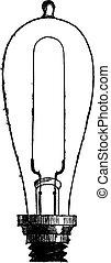 edison thomas, carbon-filament, illustrazione, lampada, alva, incandescente, vendemmia, inciso, o