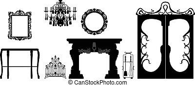 editable, collezione, decorazione, silhouette, vettore, mobilia
