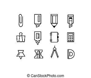 editable, colpo, arte, linea, set, stationery, icons.