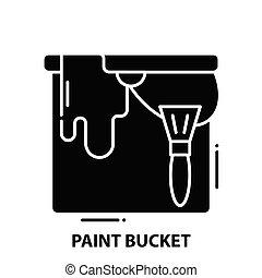 editable, nero, secchio, icona, illustrazione, colpi, concetto, vettore, segno, vernice