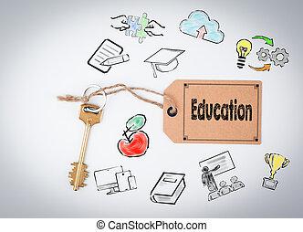 education., sfondo bianco, chiave