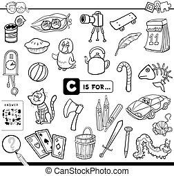 educativo, compito, coloritura, c, libro