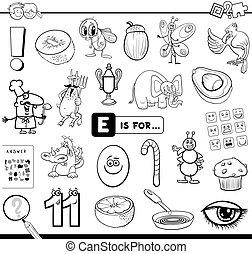 educativo, compito, e, libro colorante