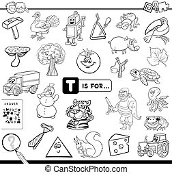 educativo, gioco, coloritura, t, libro