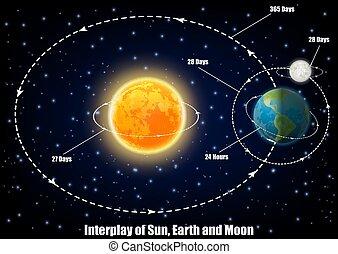 educativo, luna, manifesto, vettore, interazione, sole, terra