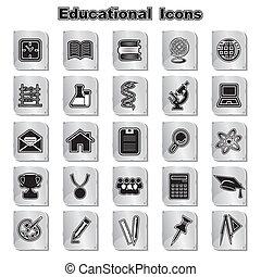 educativo, set, icone