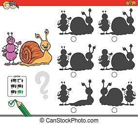 educativo, uggia, gioco, lumaca, formica