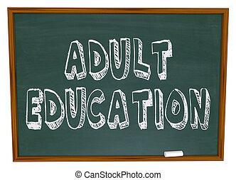 educazione, -, adulto, lavagna