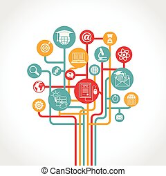 educazione, albero, linea