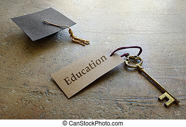 educazione, graduazione, chiave