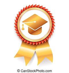 educazione, medaglia, premio, icona