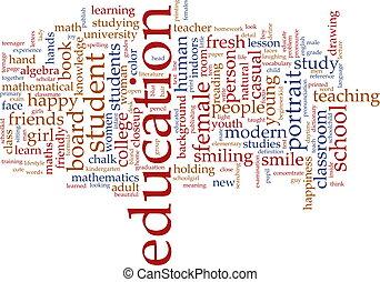 educazione, parola, nuvola