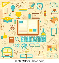 educazione, retro, fondo