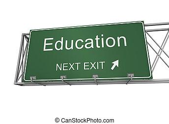 educazione, segno, strada, illustrazione, 3d