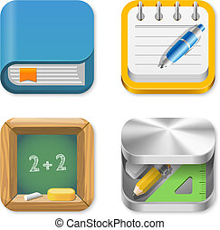 educazione, set, icone
