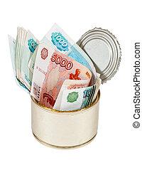 effetti, russo, fondo, stagno, bianco, sopra, lattina, roubles