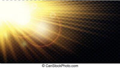 effetto leggero, giallo, riscaldare, raggi, raggi sole