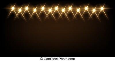 effetto, raggi, giallo, riflettore, luminoso, illustration., evento, proiettori, intrattenimento, nero, palcoscenico, discoteca, festival, luce, festa, astratto, fondo., vettore, o