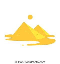 egitto, stilizzato, due, paesaggio, piramidi