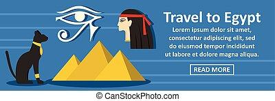 egitto, viaggiare, concetto, bandiera, orizzontale