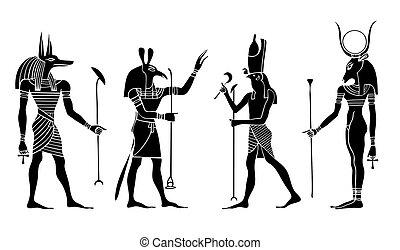 egiziano, -, dii, vettore, dea