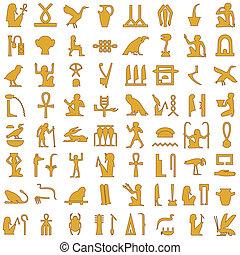 egiziano, geroglifici, 1, decorazione, set