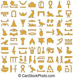 egiziano, geroglifici, decorazione, 2, set