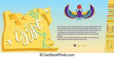 egiziano, rovine, pietra, piramide, cartone animato, aeroplano, illustrazione, egitto, vettore, appartamento, viaggiare, volare, mappa, antico, bandiera, deserto, scarabeo