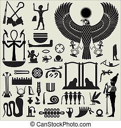 egiziano, simboli, 2, set, segni