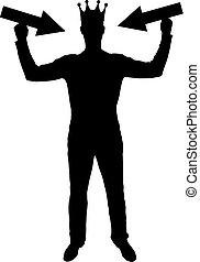 egoista, testa, suo, silhouette, puntatore, attenzione, corona, tries, vettore, tenere mani, attrarre, uomo