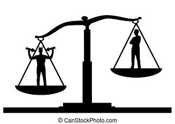 egoista, testa, suo, silhouette, scale, giustizia, corona, priorità, vettore, ordinario, uomo