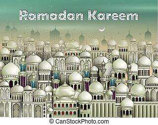 eid), moschea, decorato, mubarak, eid, (happy, fondo, ramadan