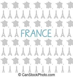 eiffel, illustrazione, pattern-, mappa, francia, torre, vettore