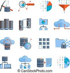 elaborazione, dati, icone