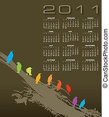 elegante, calendario, 2011