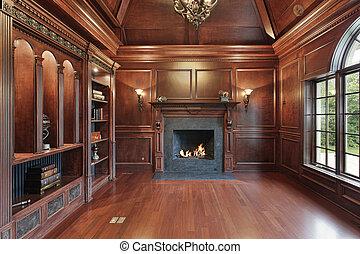 elegante, caminetto, biblioteca, nero