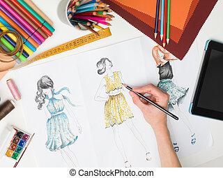 elegante, creazioni, moda