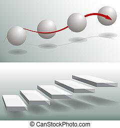 elegante, scale, tabelle, affari, sfera