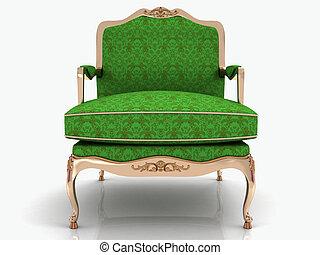 elegante, verde, classico, poltrona